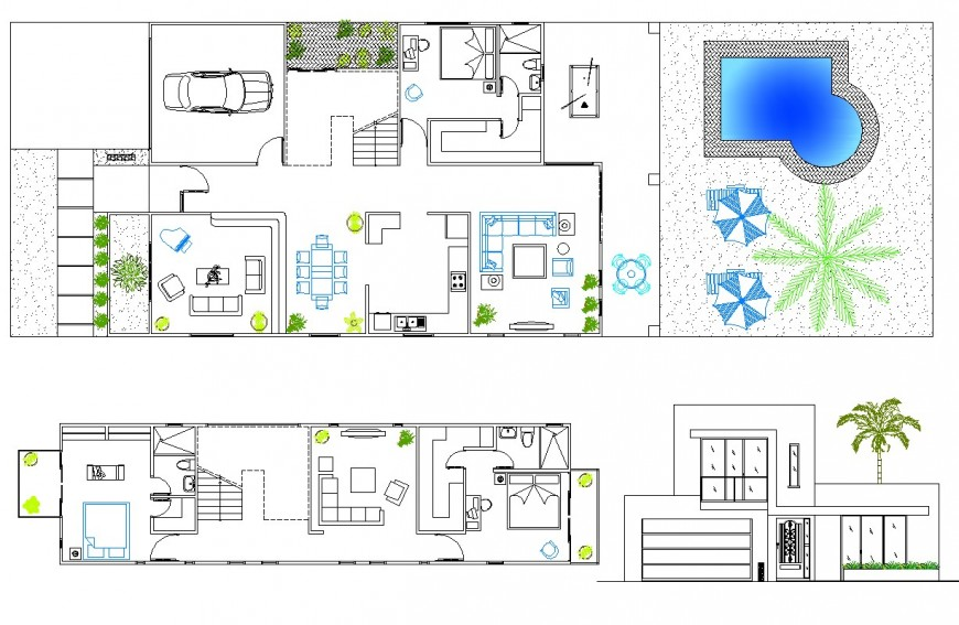 Residence with pool detail cad file