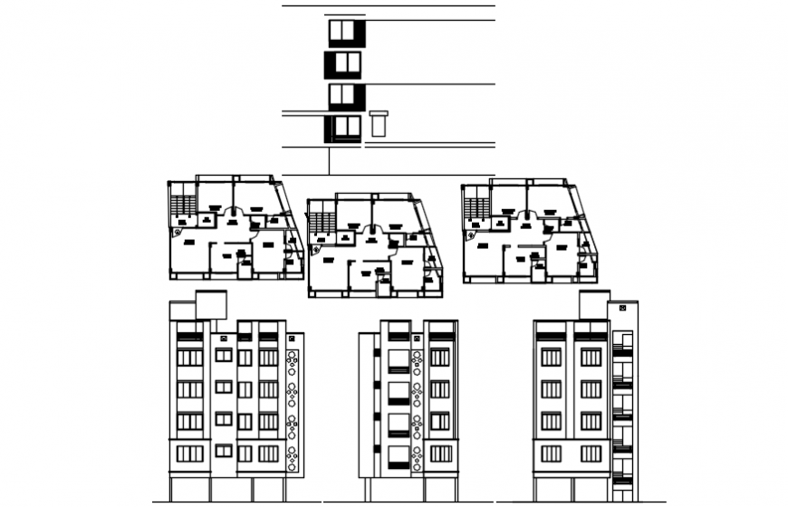 Residency building plan and elevation in auto cad file