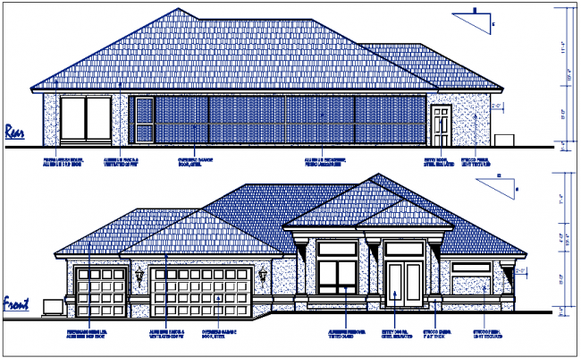 residential elevation view detail dwg file