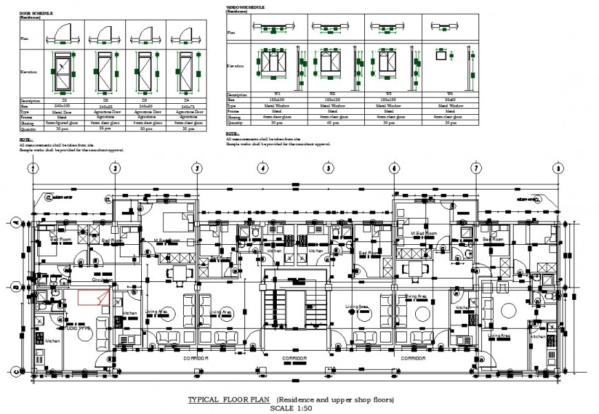 Residential and upper shop floors plan drawing in dwg AutoCAD file.