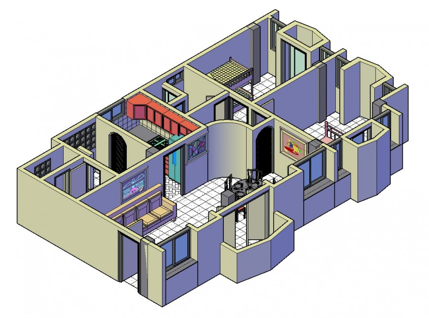 Residential apartment architecture 3d layout plan cad drawing details dwg file