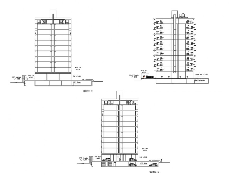 Residential apartment building all sided section and gas installation details dwg file