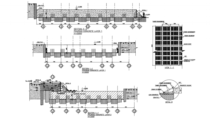 Residential apartment building constructive section and structure details dwg file