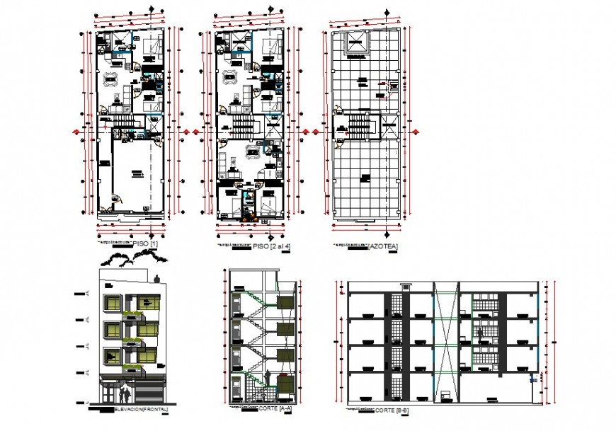 Residential apartment building detail plan, elevation and section 2d view layout autocad file
