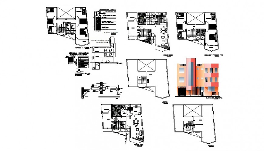 Residential apartment building elevation, floor plan and structure details dwg file