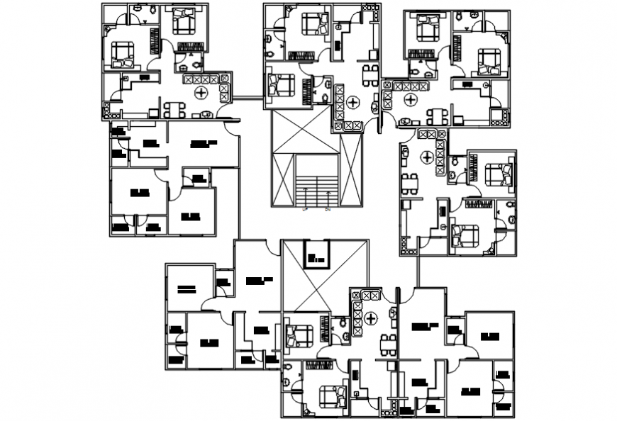 Residential apartment building first floor layout plan cad drawing details dwg file