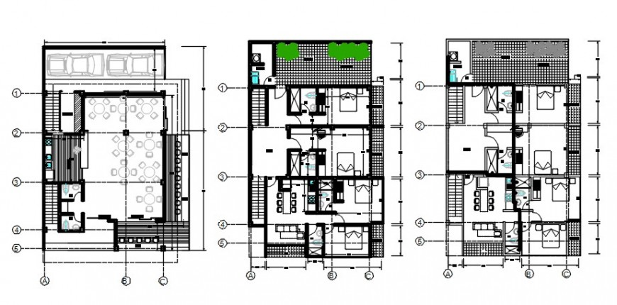 Residential apartment building floor plan with furniture cad drawing details dwg file