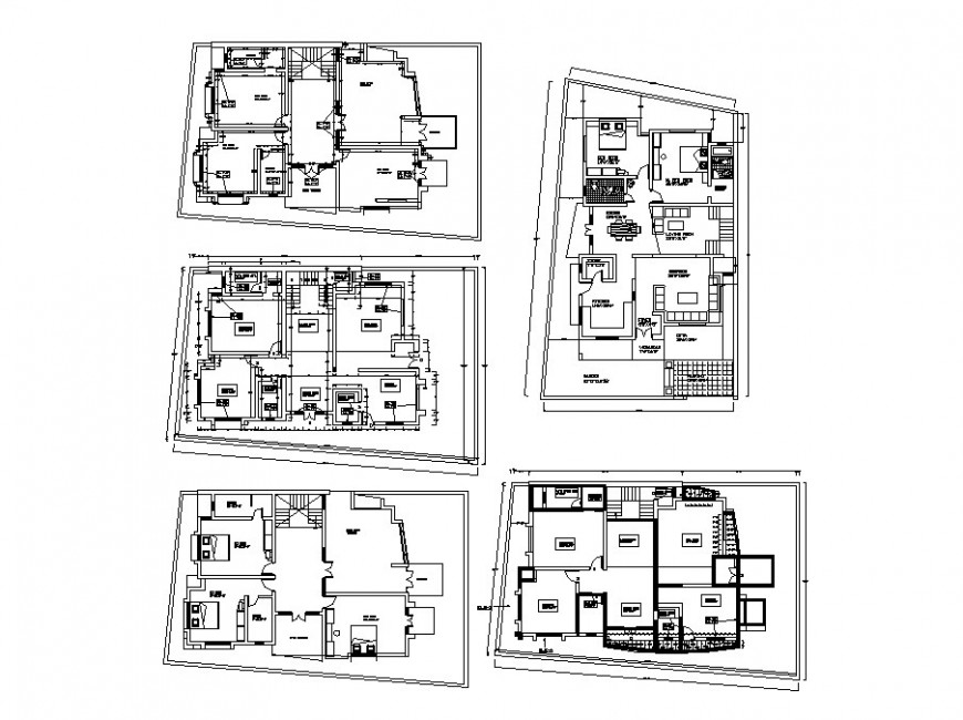 Residential apartment building houses distribution plan cad drawing details dwg file
