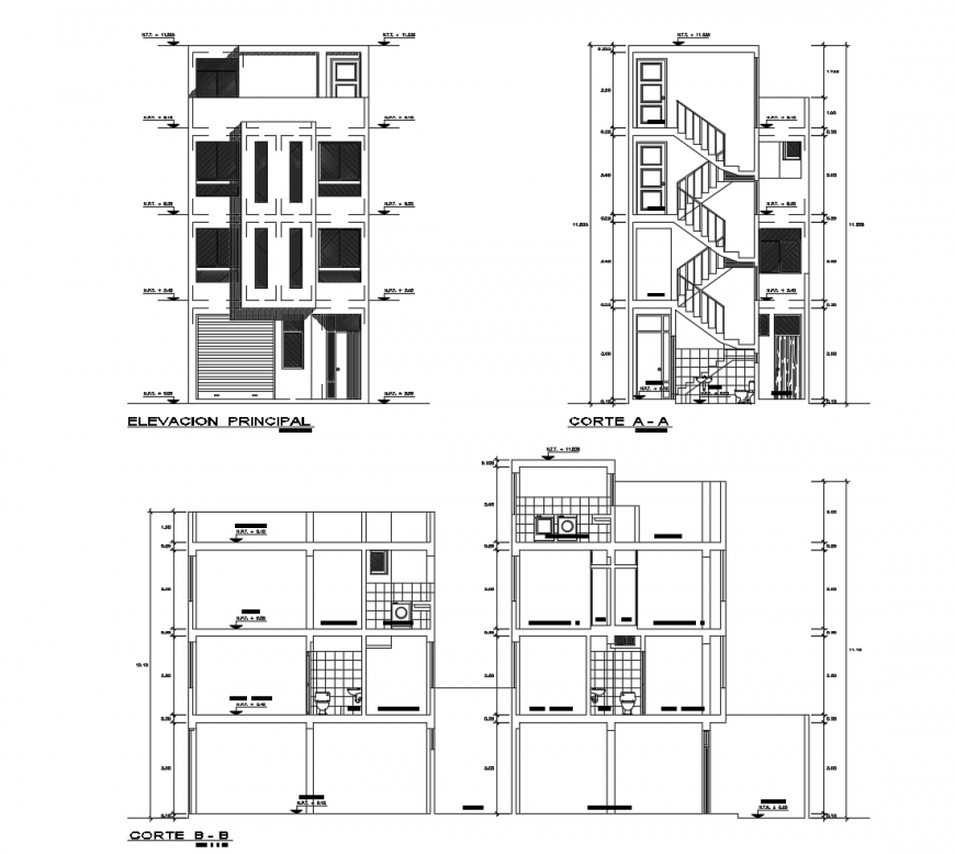 Residential apartment building main elevation and all sided section cad drawing details dwg file