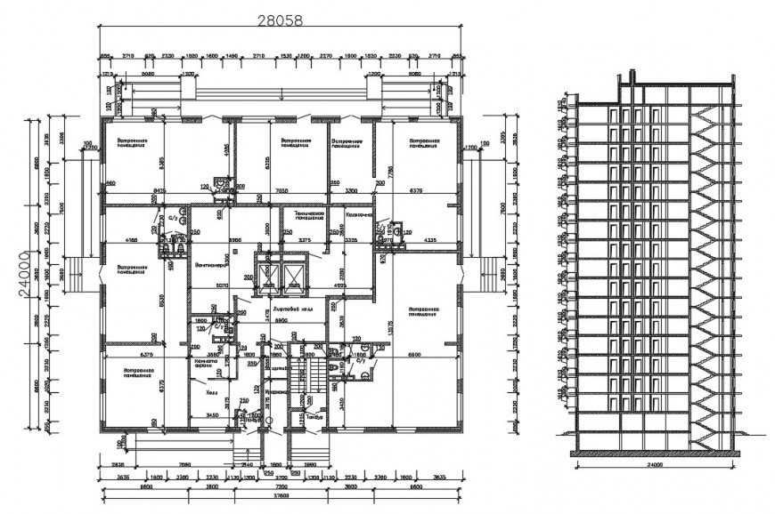 Residential apartment building main section and sanitary installation details dwg file