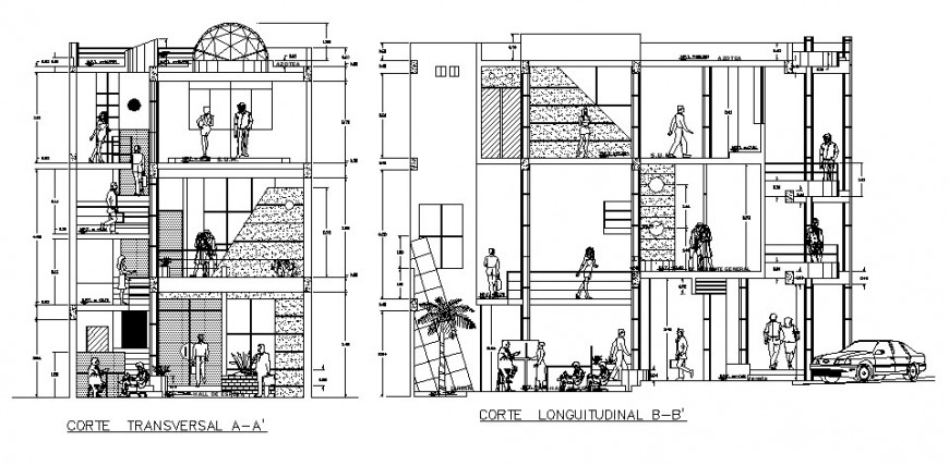 Residential apartment building transverse and longitudinal section cad drawing details dwg file