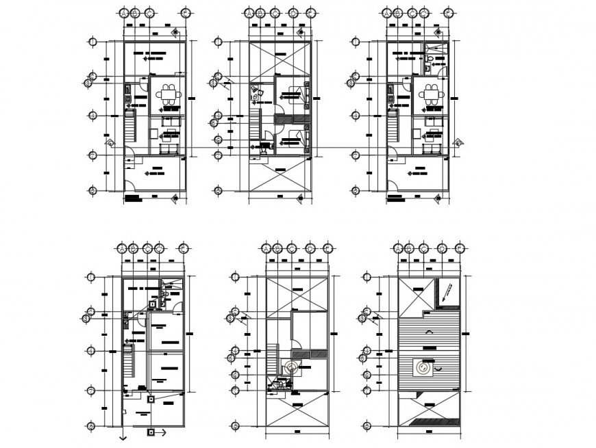 Residential apartment construction plan detail 2d view dwg file