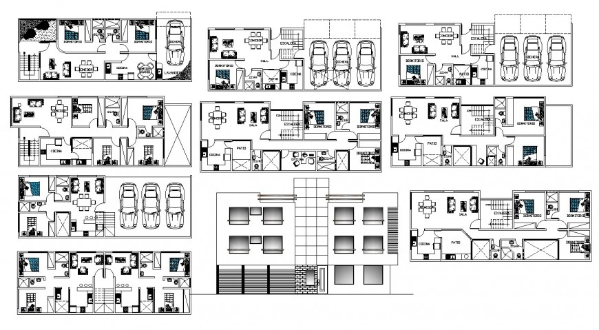 Residential apartment detail 2d view CAD structural block layout file in autocad format