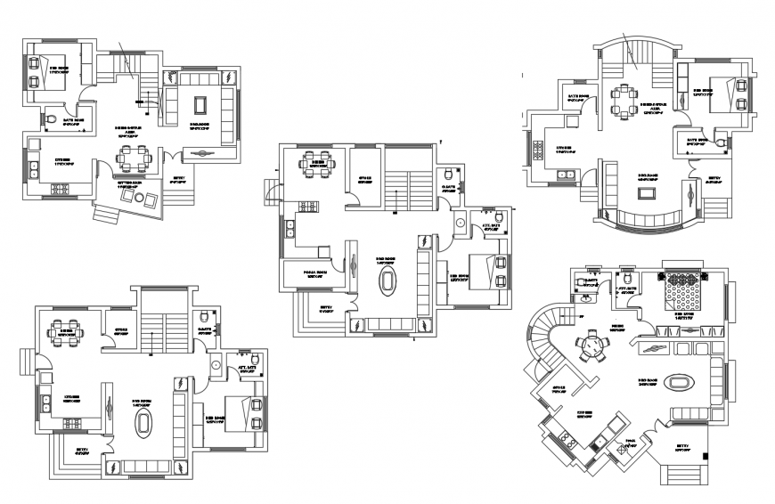 Residential apartment detail 2d view working plan dwg file