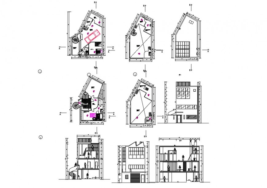 Residential apartment detail plan, elevation and section 2d view CAD block autocad file