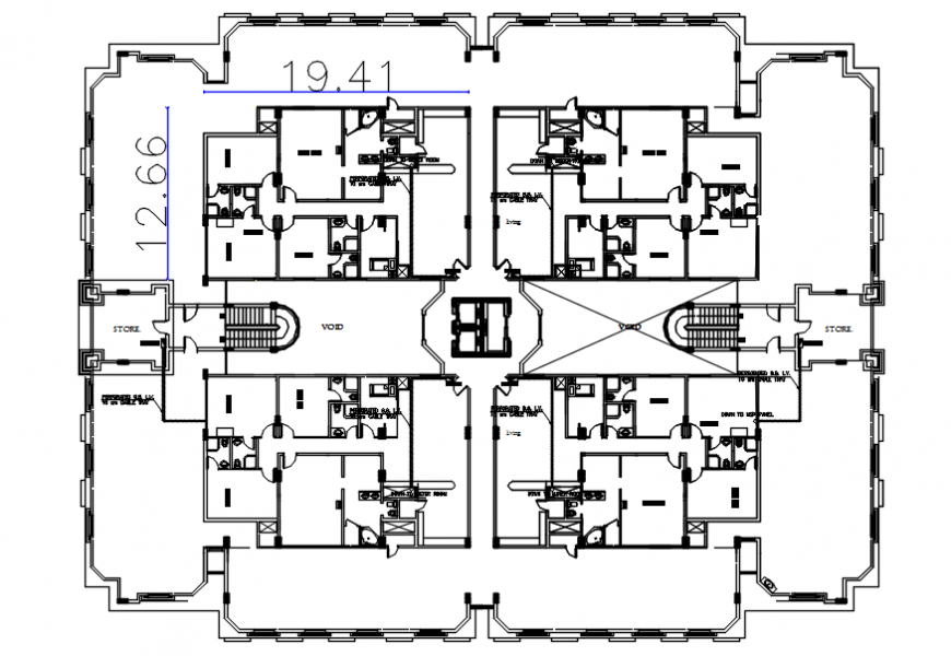 Residential apartment drawing 2d view center line plan dwg autocad file