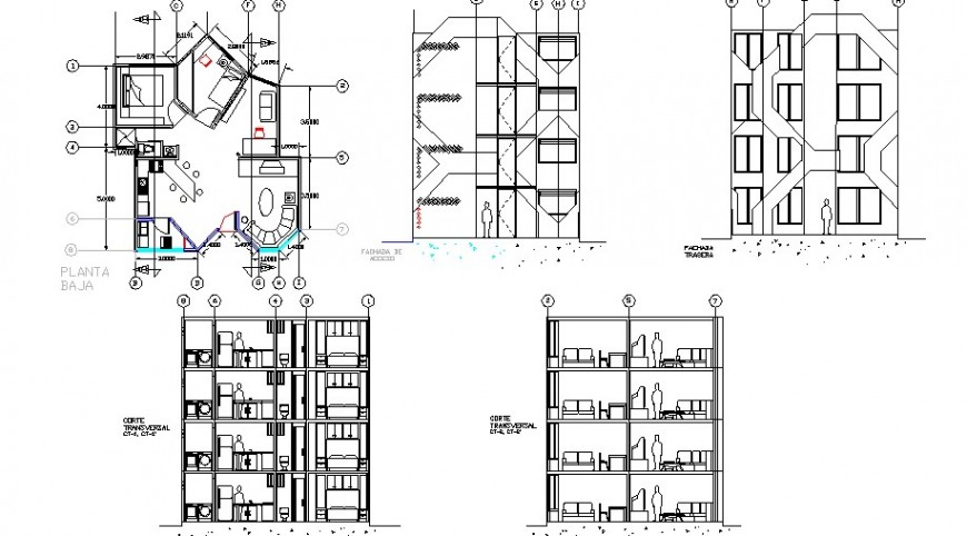 Residential apartment elevation, section and floor plan cad drawing details dwg file