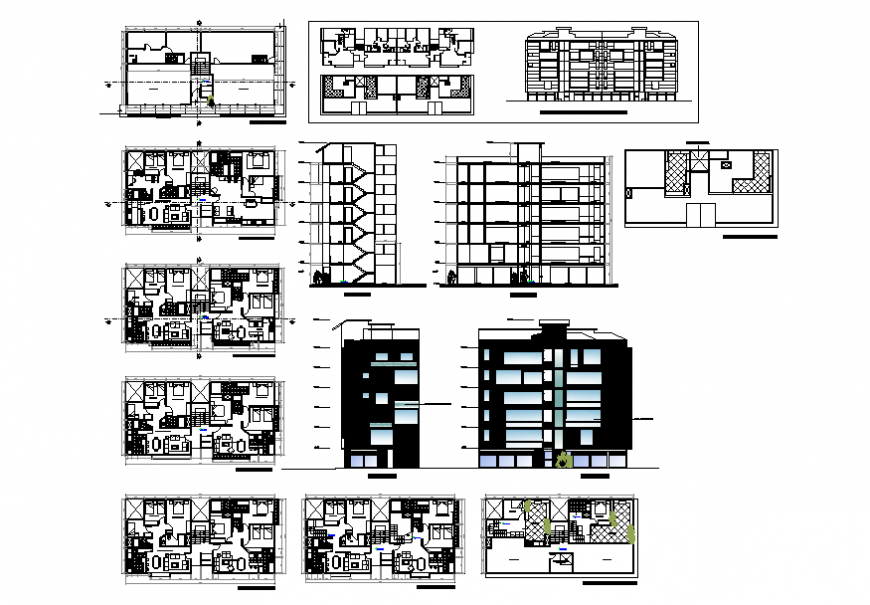 Residential apartment elevation, section and floor plan details dwg file