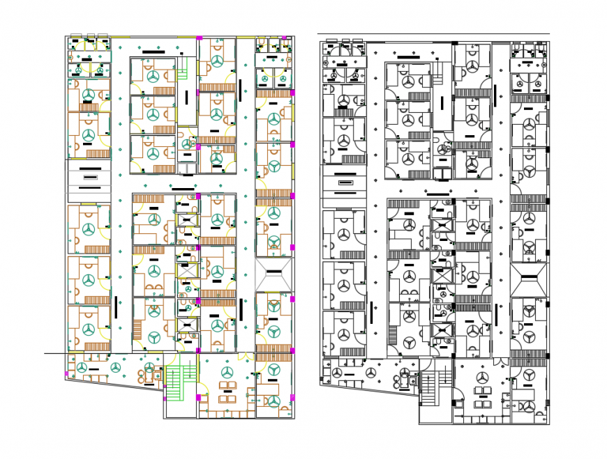 Residential apartment flat floors distribution plan cad drawing details dwg file