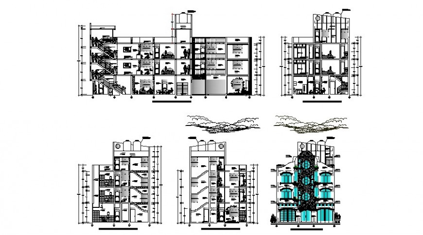 Residential apartment flats all sided elevation and section cad drawing details dwg file