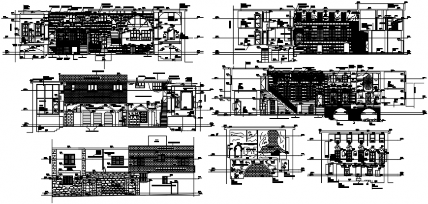 Residential apartment flats building all sided elevation and section drawing details dwg file
