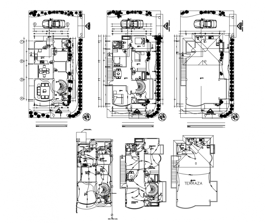 Residential apartment fully furnished working plan autocad file