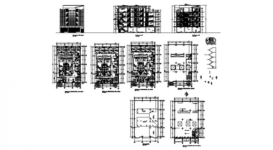 Residential apartment housing building elevation, section and floor plan details dwg file