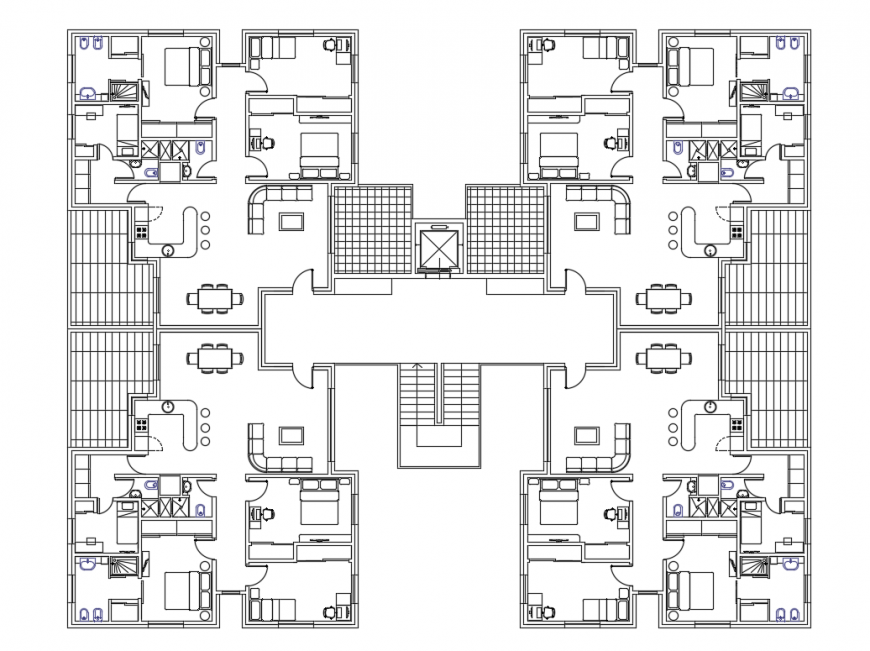 Residential apartment housing building layout plan cad drawing details dwg file