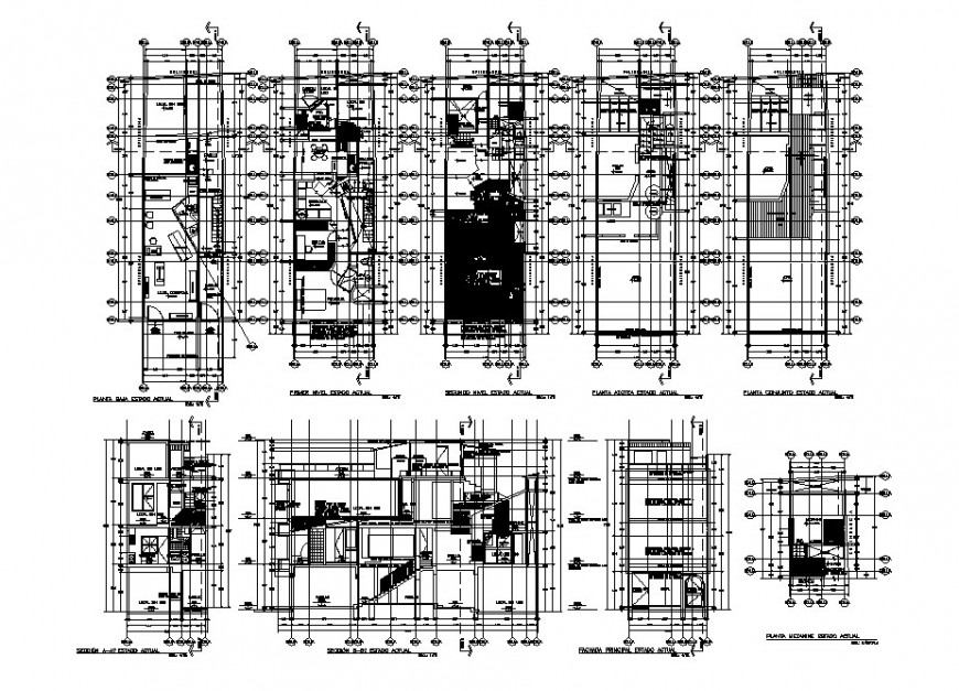 Residential apartment housing building section and floor plan cad drawing details dwg file