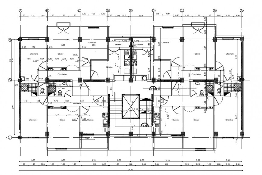 residential apartment layout plan cad file