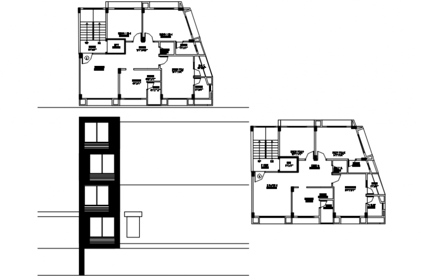 Residential apartment main elevation and floor plan drawing details dwg file