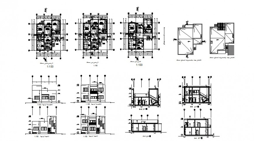 Residential apartment plan, section and elevation 2d view CAD structural block layout autocad file