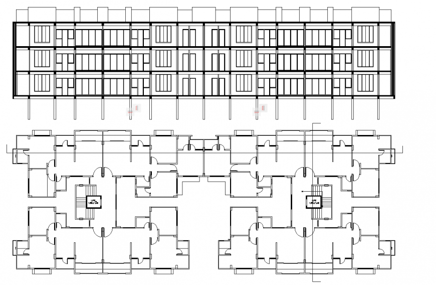 Residential apartment plan drawing in dwg file.