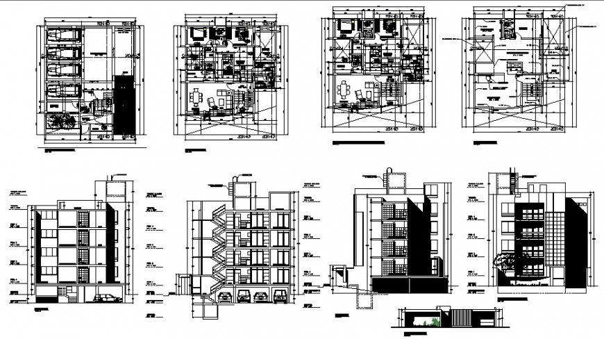 Residential apartment structure detail plan, elevation and section 2d view dwg file