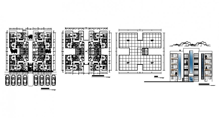 Residential apartment working plan and elevation 2d view dwg file