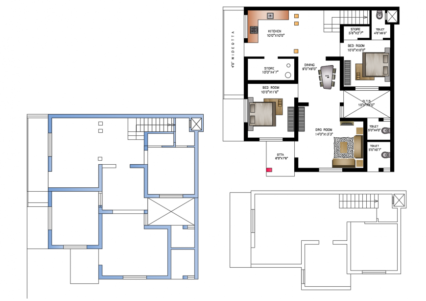 Residential apartment working plan detail 2d view autocad file