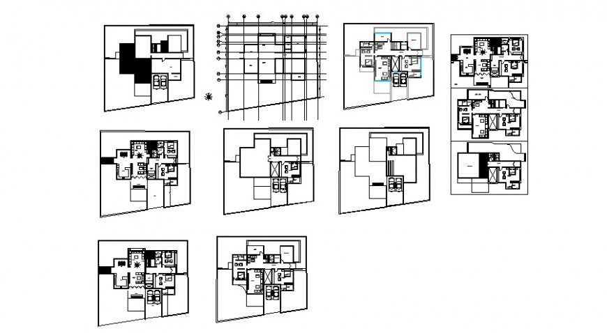 Residential apartments working plan detailing drawing in autocad format
