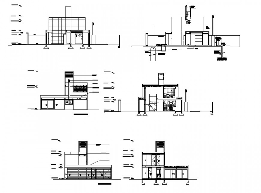 Residential area elevation in auto cad