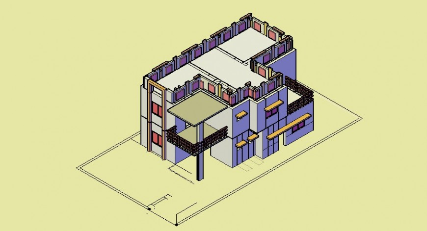 Residential beautiful house 3d model cad drawing details dwg file