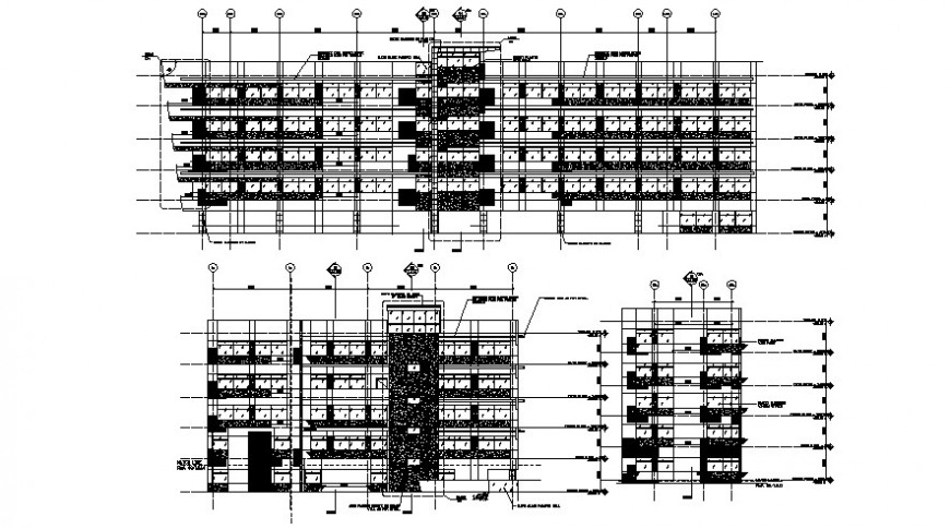 Residential building all three sided elevation drawing details dwg file