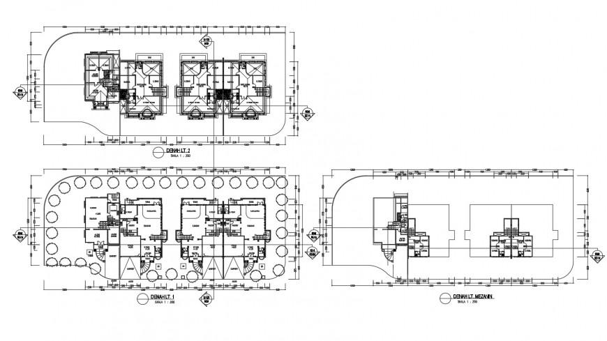 Residential building blocks houses floor distribution plan cad drawing details dwg file