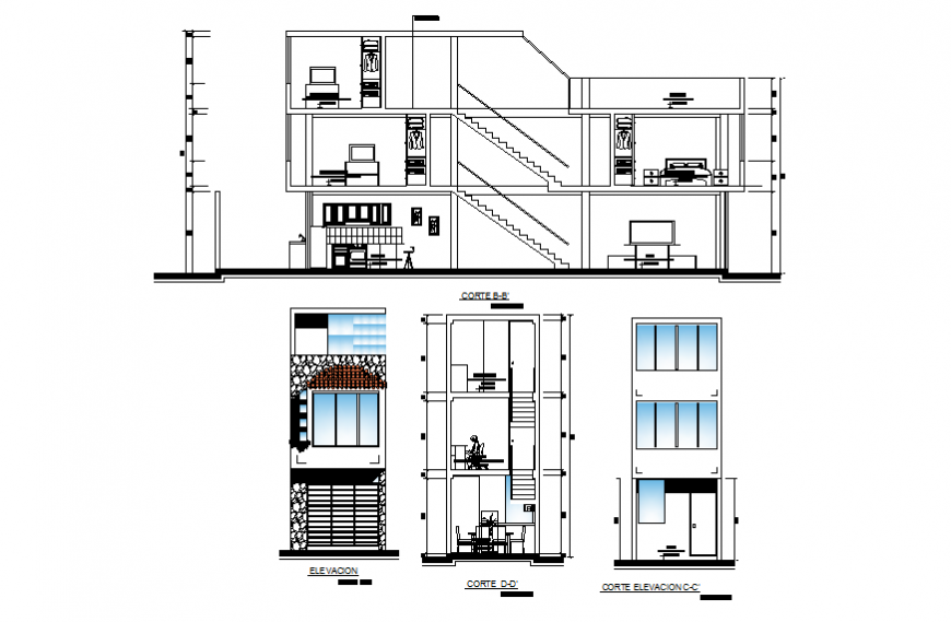 Residential building Bungalow detail plan and elevation dwg file