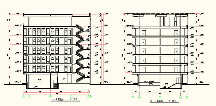 Residential building detail elevation and plan autocad file
