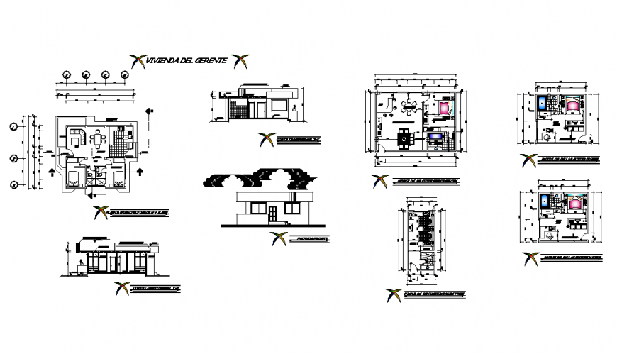 Residential building detail elevation and plan view layout dwg file