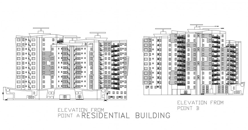 Residential building different elevation in auto cad file