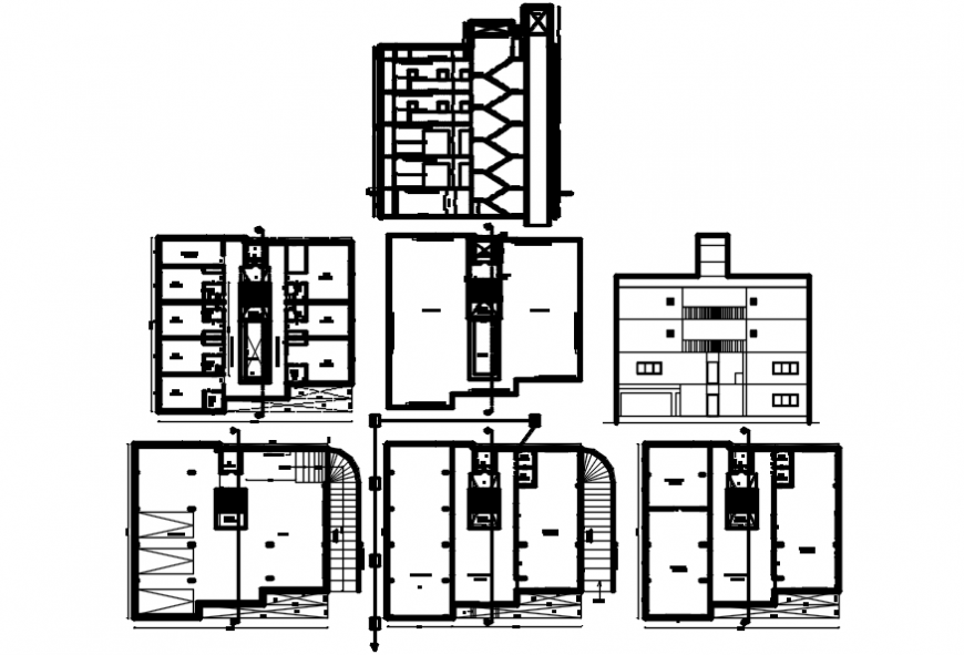 Residential building elevation, section and floor plan drawing details dwg file