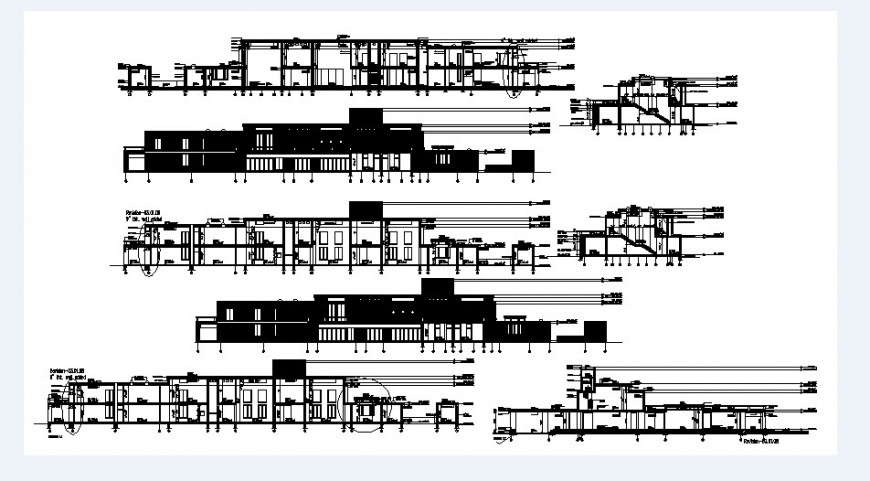 Residential building elevation and all sided section drawing details dwg file