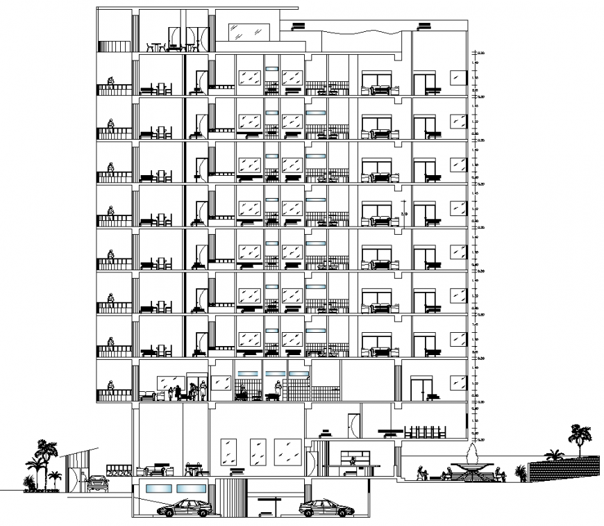 Residential building elevation drawing in dwg AutoCAD file.