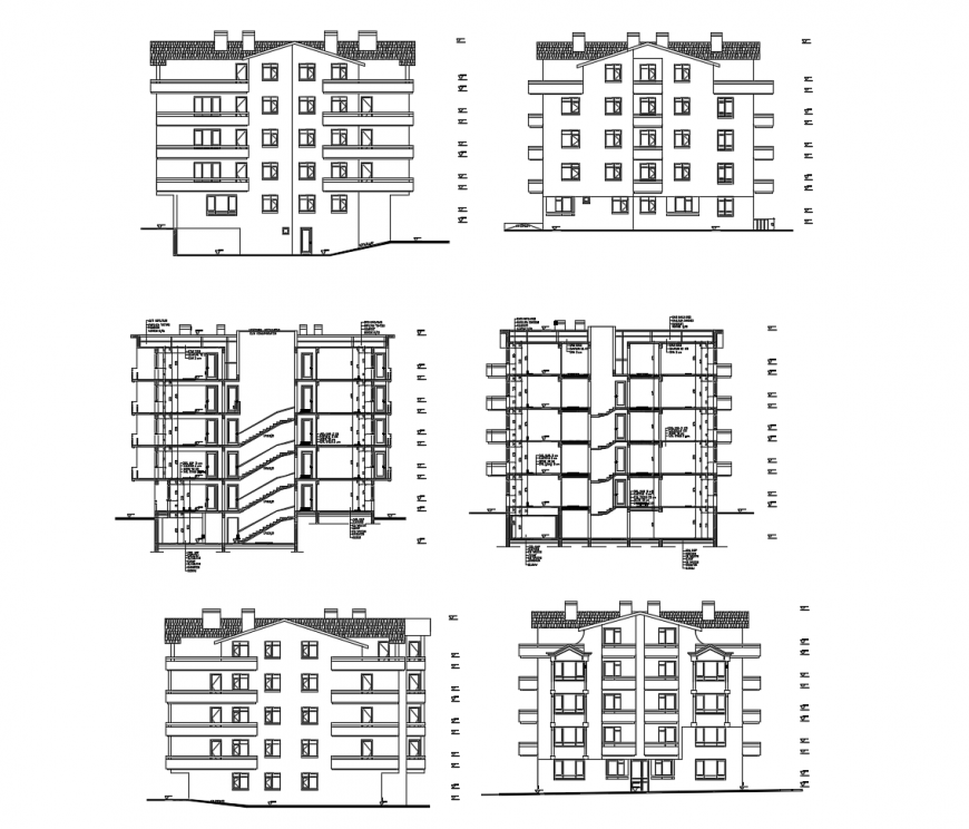 Residential building elevations and section cad drawing details dwg file