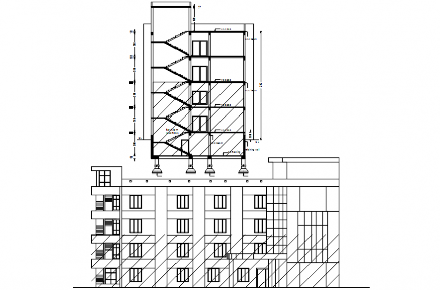 Hospital multi story building main elevation and side section drawing details dwg file